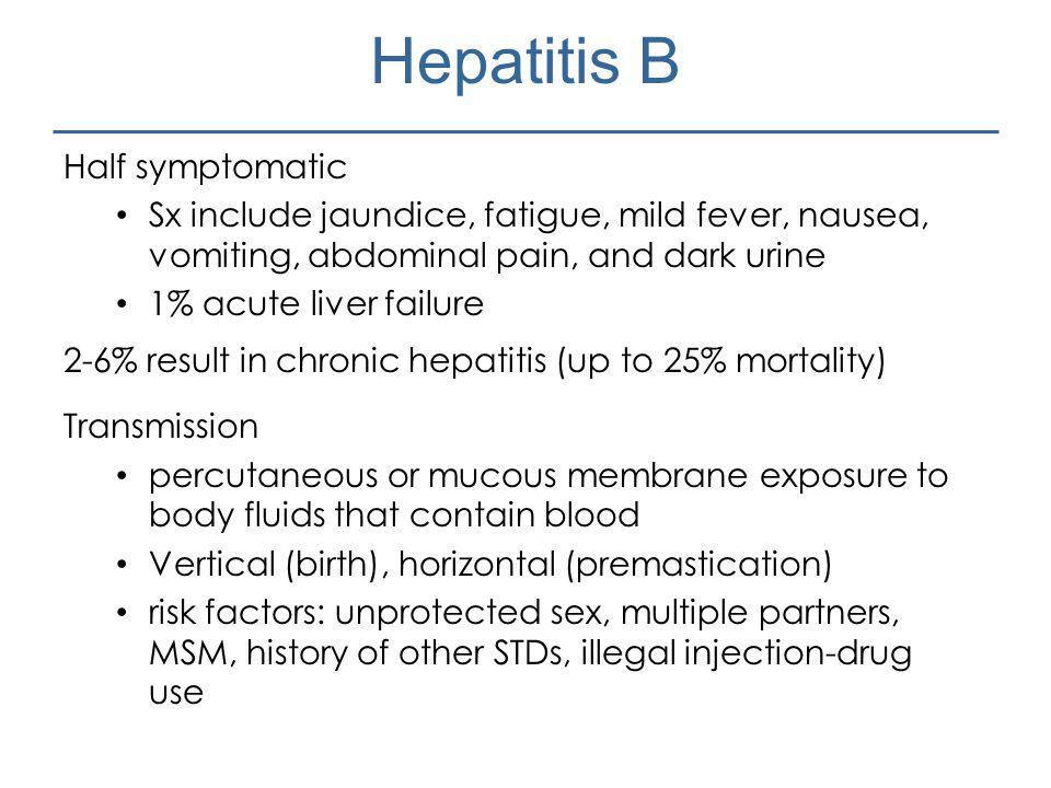 Hepatitis B Half symptomatic