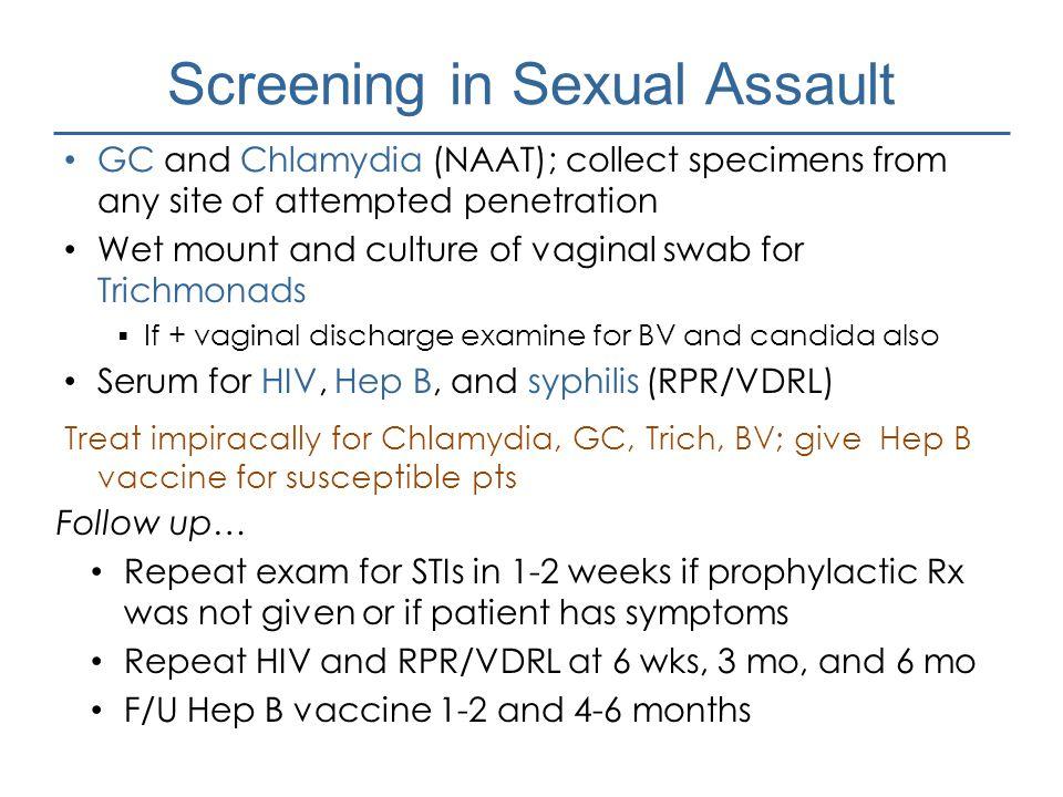 Screening in Sexual Assault