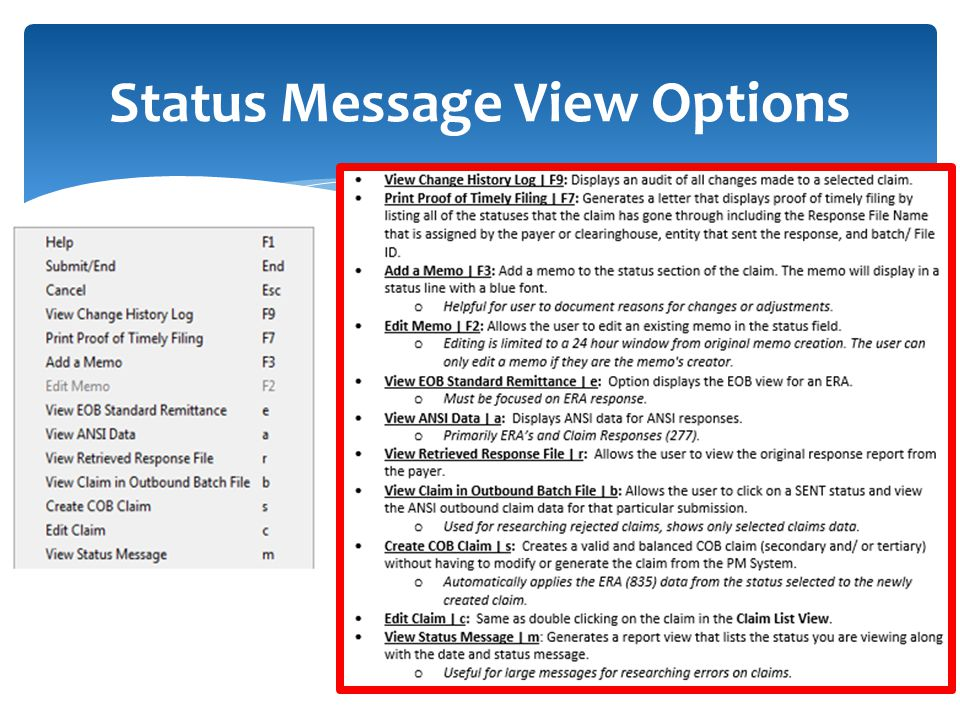 Status Message View Options