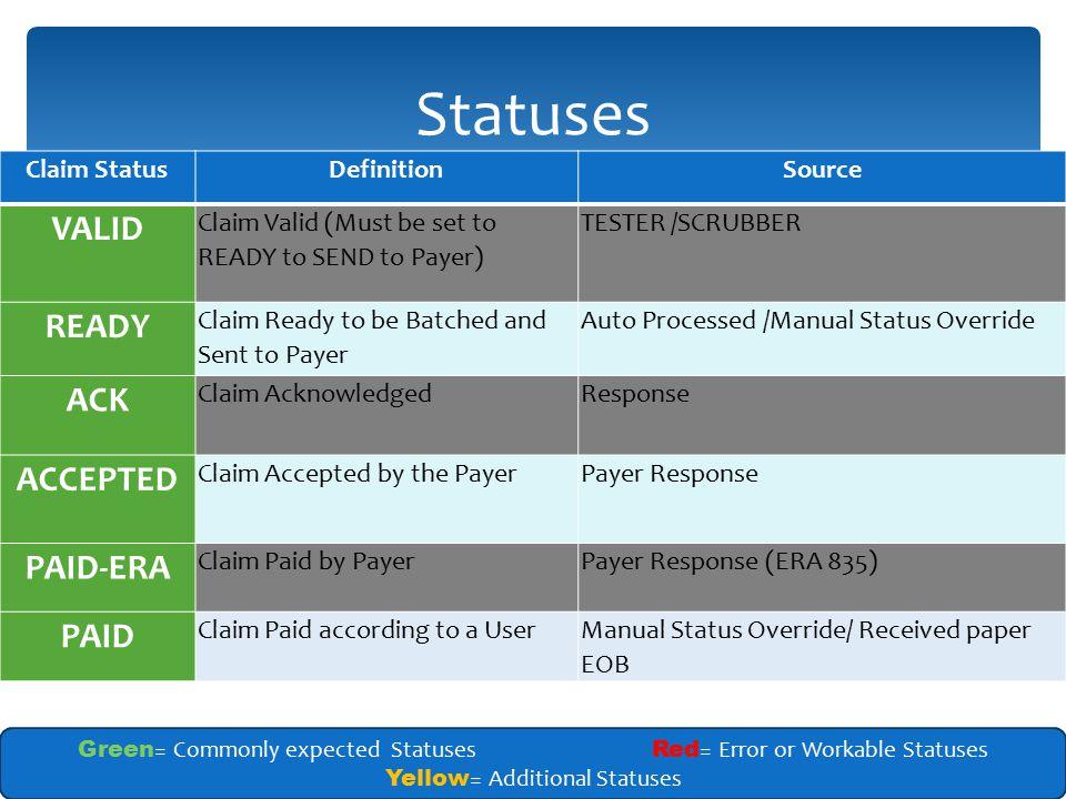 Statuses VALID READY ACK ACCEPTED PAID-ERA PAID Claim Status