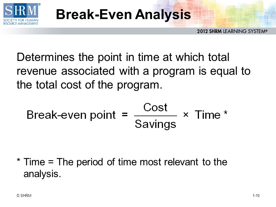 Break-Even Analysis Determines the point in time at which total revenue associated with a program is equal to the total cost of the program.