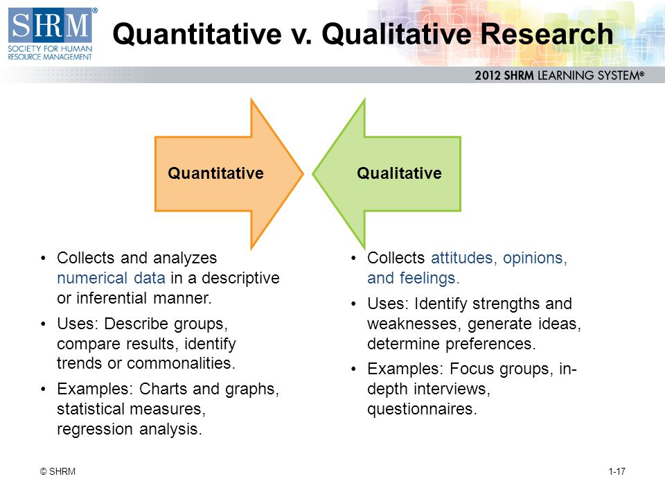 Quantitative v. Qualitative Research