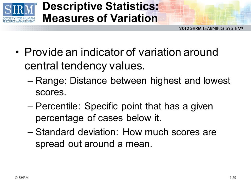 Descriptive Statistics: Measures of Variation