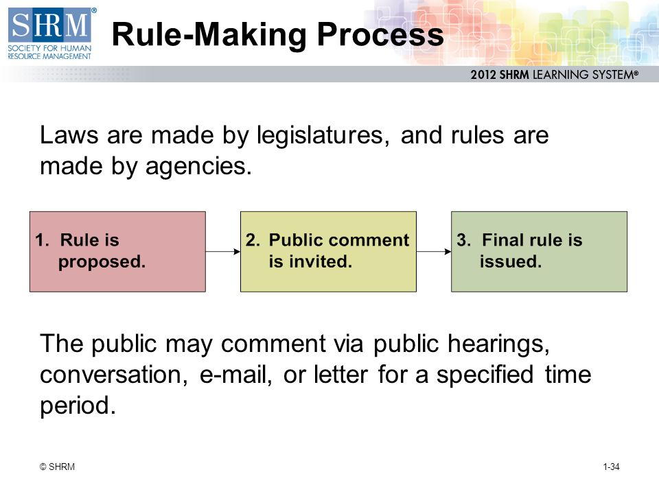 Rule-Making Process Laws are made by legislatures, and rules are made by agencies.