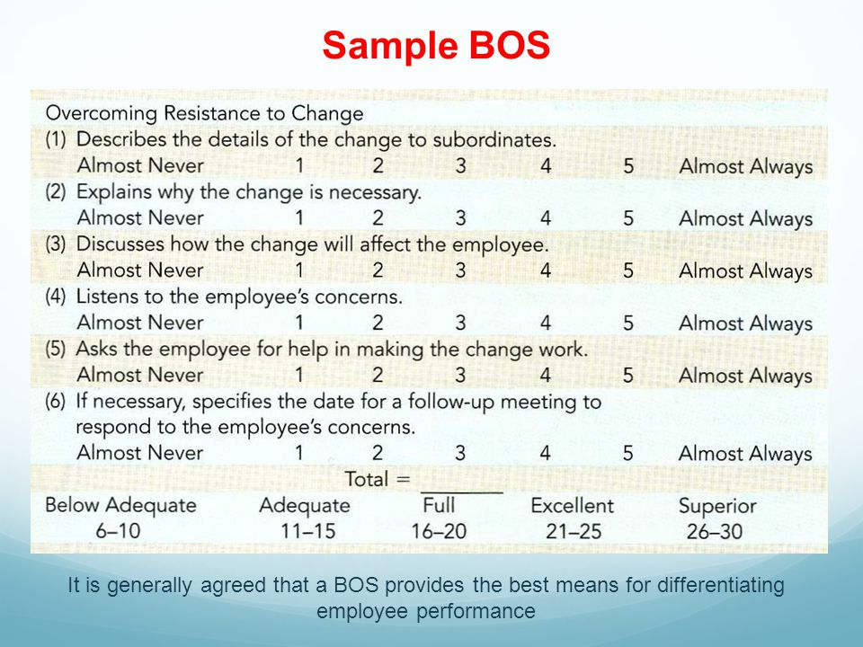 Sample BOS It is generally agreed that a BOS provides the best means for differentiating employee performance.