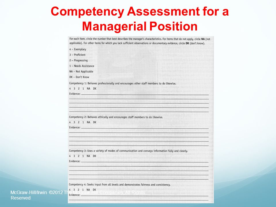 Competency Assessment for a Managerial Position