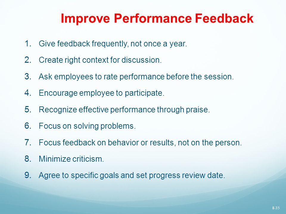 Improve Performance Feedback