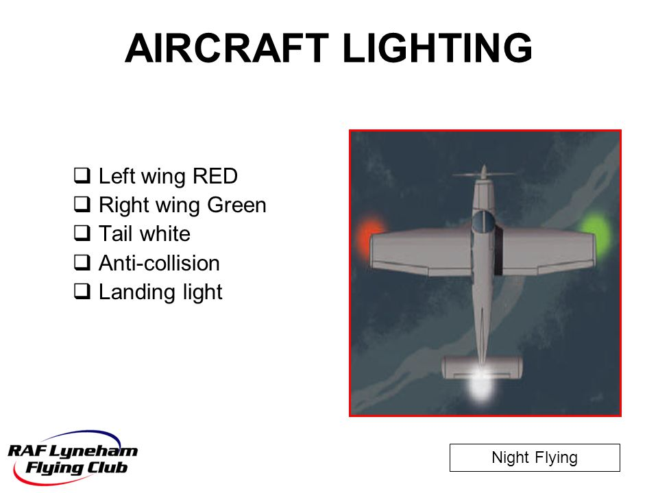 AIRCRAFT LIGHTING Left wing RED Right wing Green Tail white