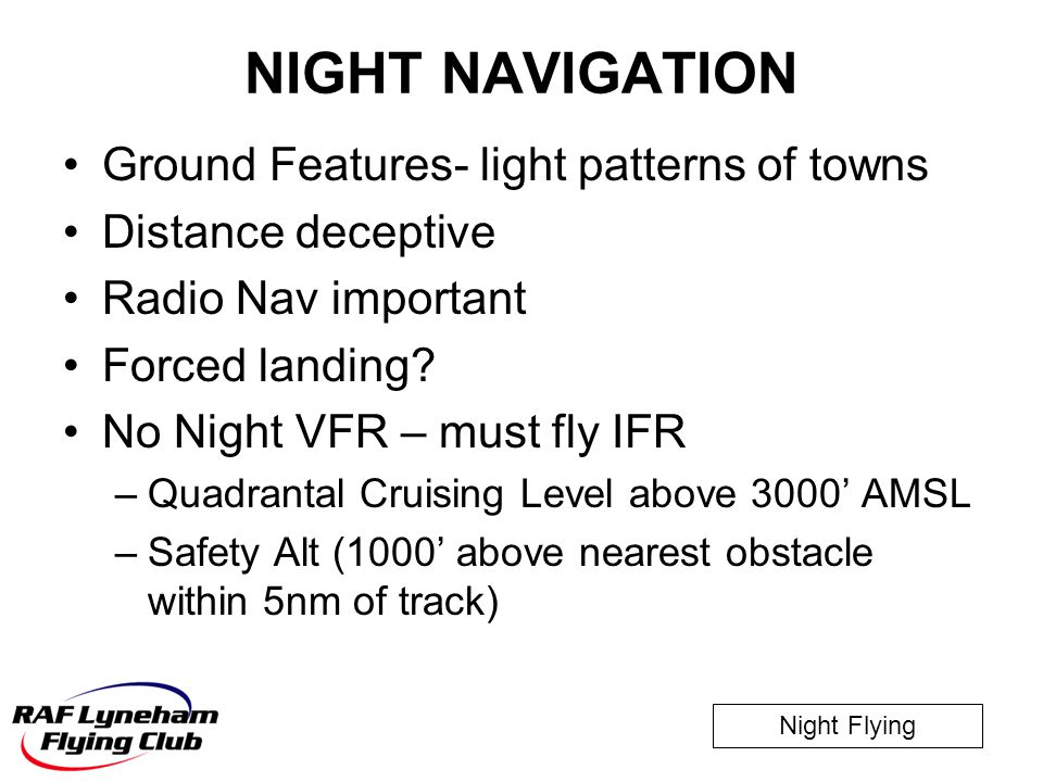 NIGHT NAVIGATION Ground Features- light patterns of towns