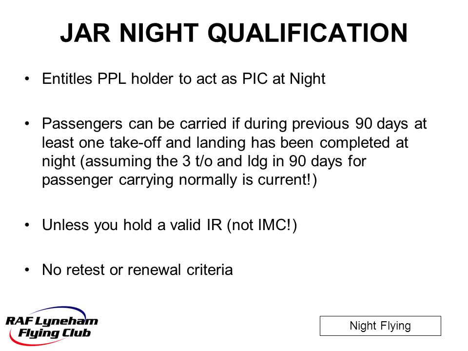 JAR NIGHT QUALIFICATION