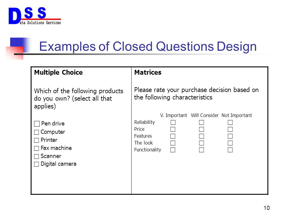 Examples of Closed Questions Design
