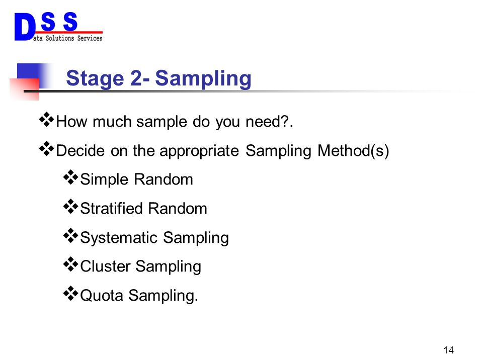 Stage 2- Sampling How much sample do you need .