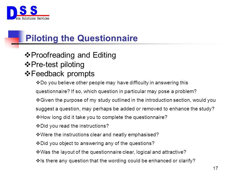 Piloting the Questionnaire