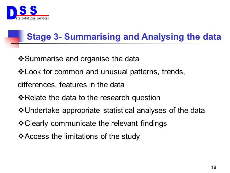 Stage 3- Summarising and Analysing the data