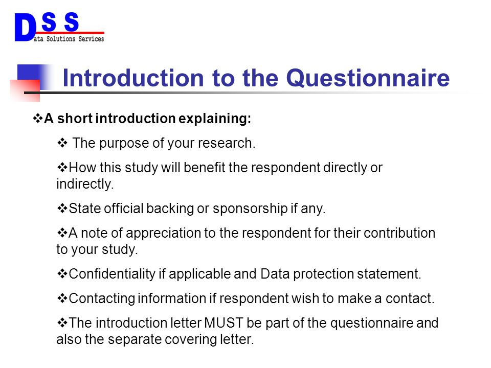 Introduction to the Questionnaire