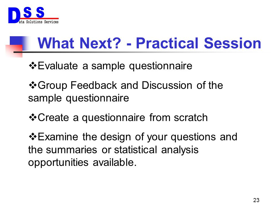 What Next - Practical Session