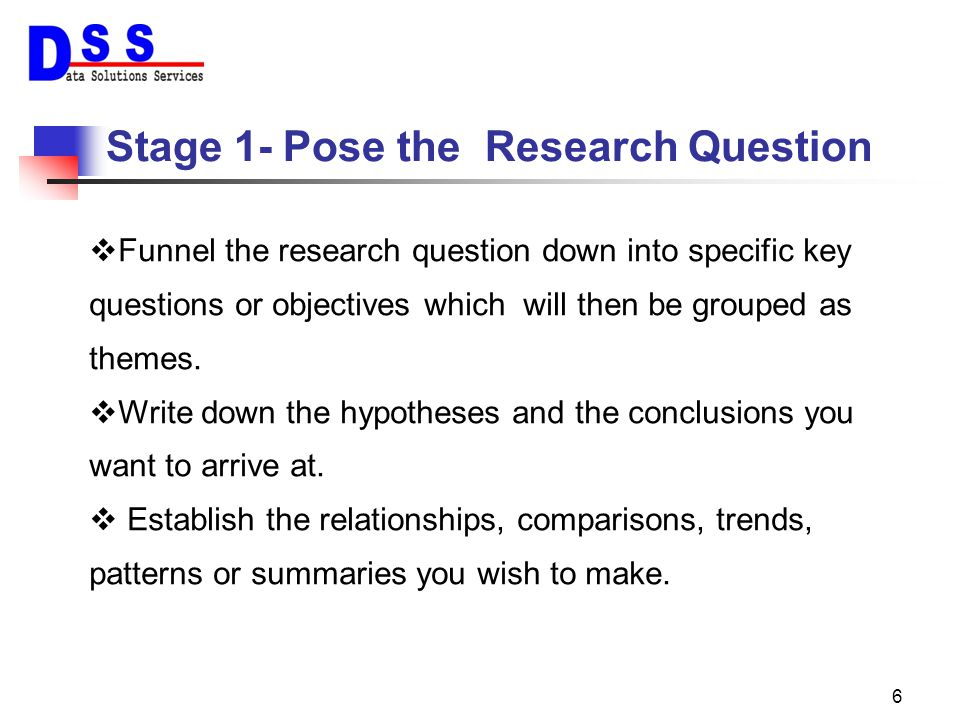Stage 1- Pose the Research Question
