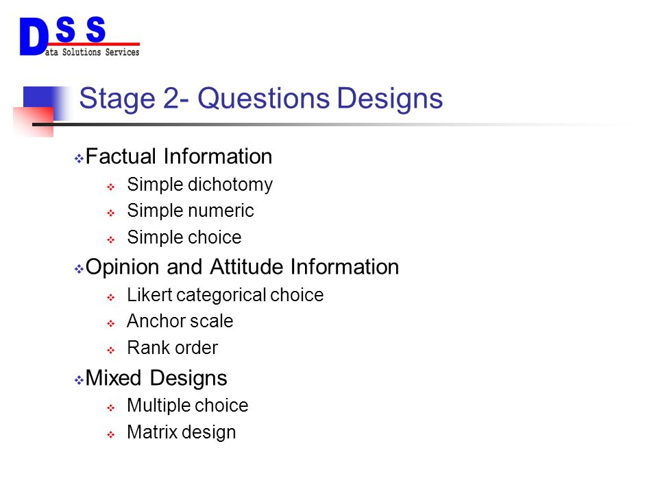 Stage 2- Questions Designs