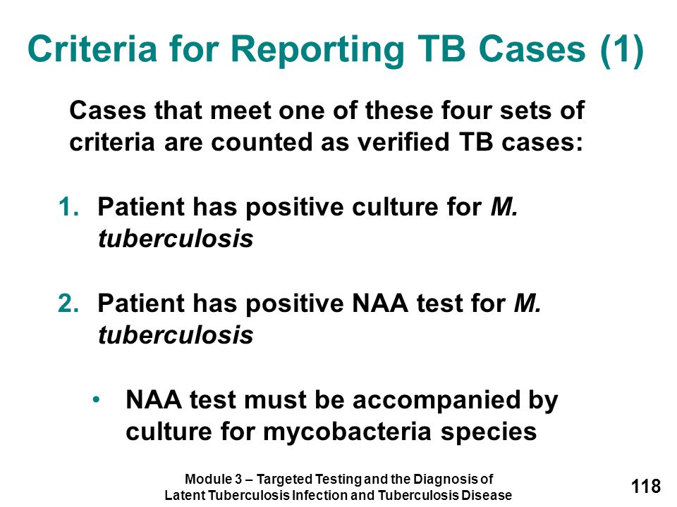 Criteria for Reporting TB Cases (1)
