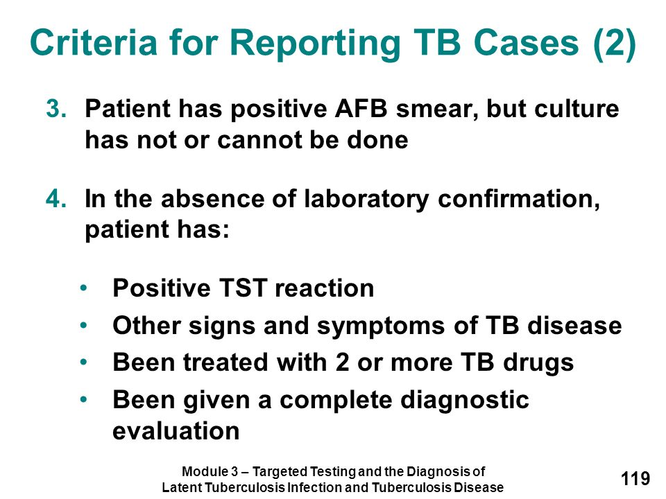 Criteria for Reporting TB Cases (2)