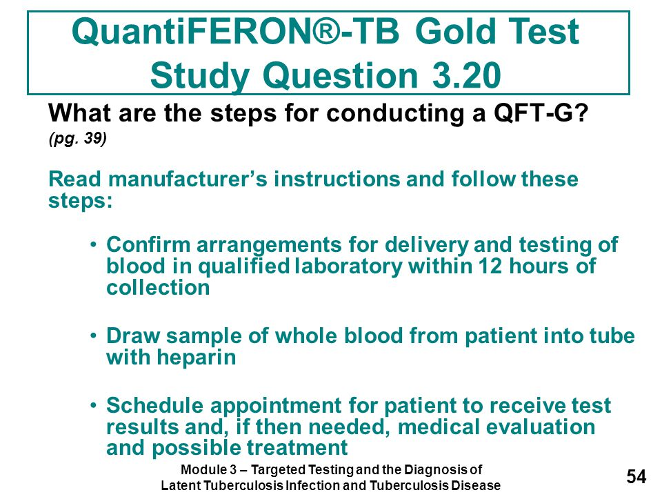 QuantiFERON®-TB Gold Test Study Question 3.20