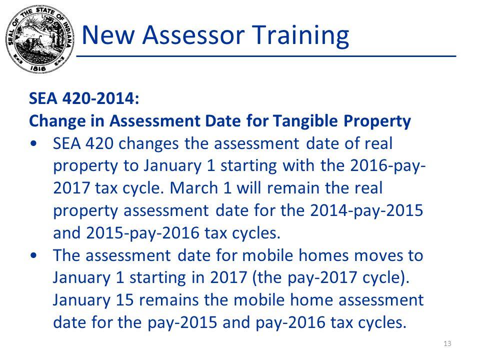 New Assessor Training SEA 420-2014: