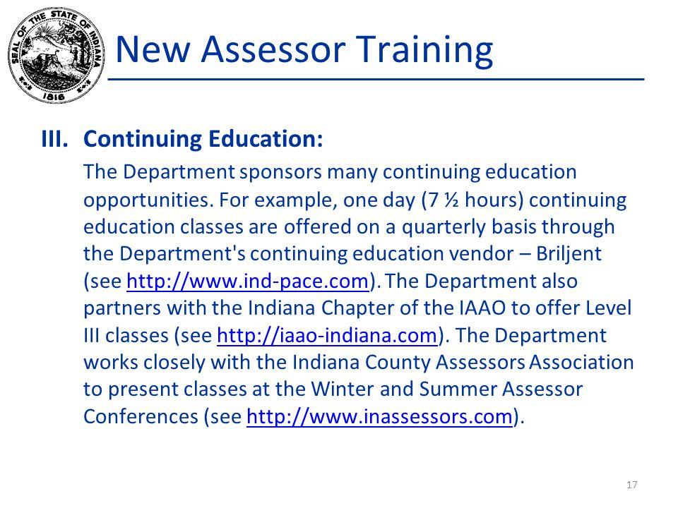 New Assessor Training Continuing Education: