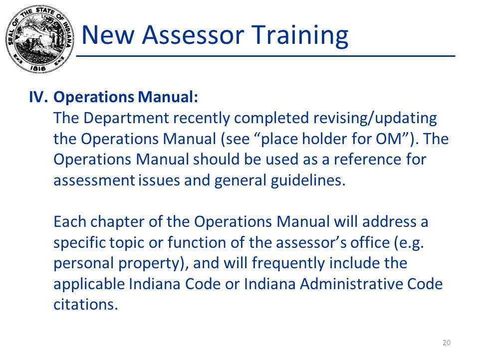 New Assessor Training Operations Manual: