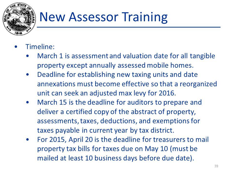 New Assessor Training Timeline: