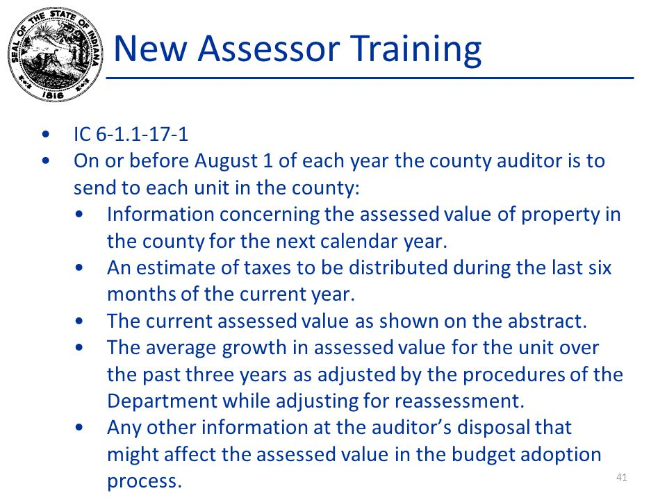 New Assessor Training IC 6-1.1-17-1