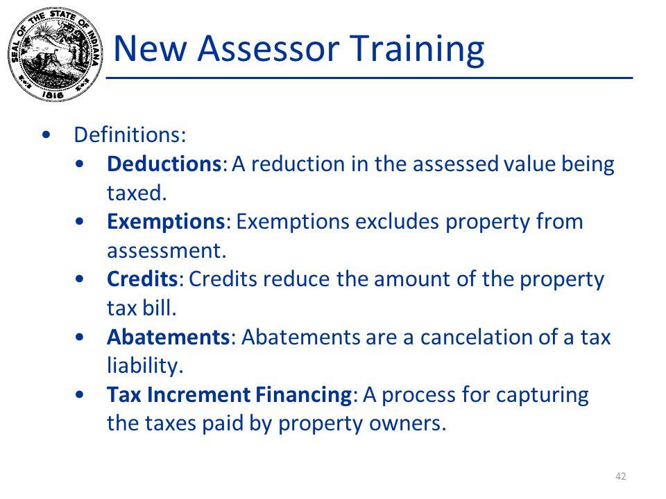 New Assessor Training Definitions:
