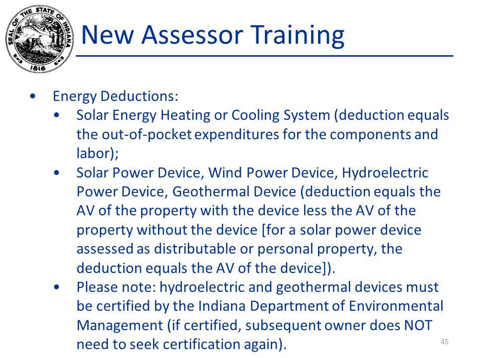 New Assessor Training Energy Deductions: