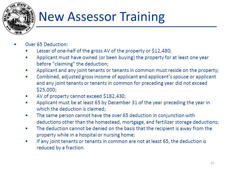 New Assessor Training Over 65 Deduction: