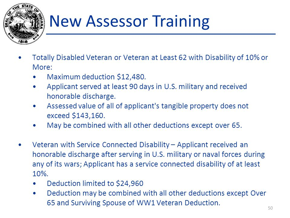 New Assessor Training Totally Disabled Veteran or Veteran at Least 62 with Disability of 10% or More: