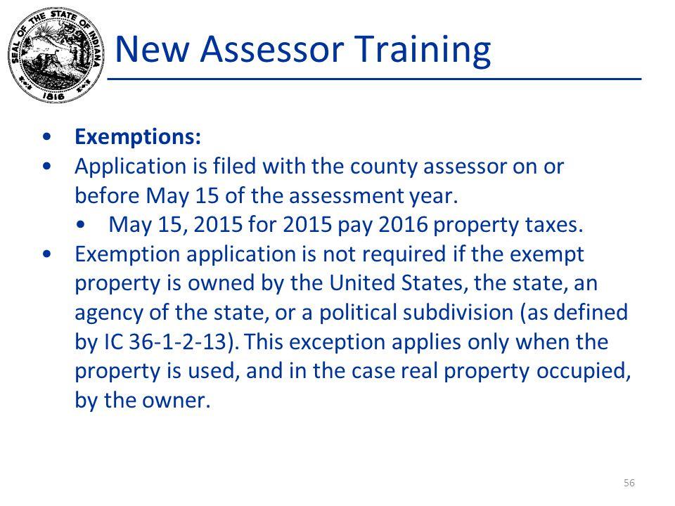 New Assessor Training Exemptions: