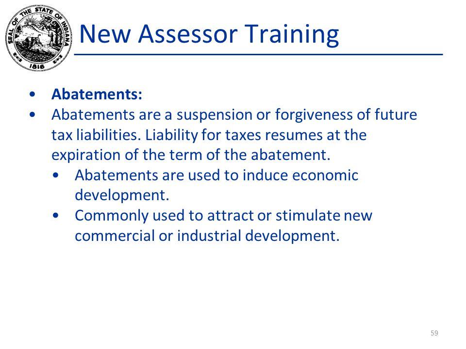 New Assessor Training Abatements: