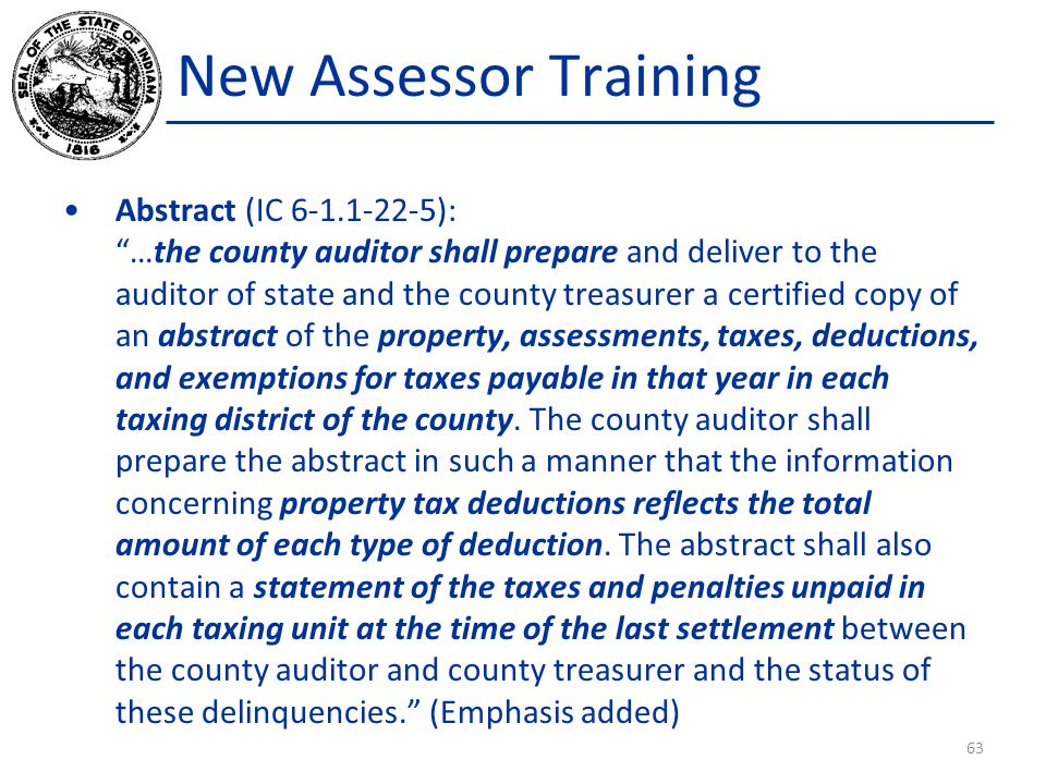 New Assessor Training Abstract (IC 6-1.1-22-5):