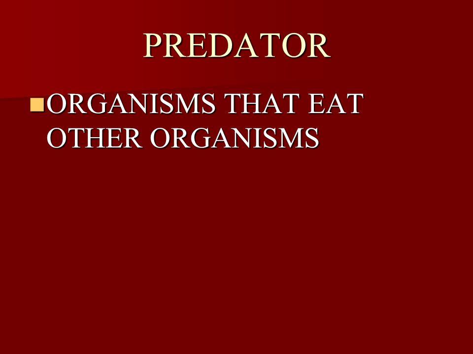 PREDATOR ORGANISMS THAT EAT OTHER ORGANISMS