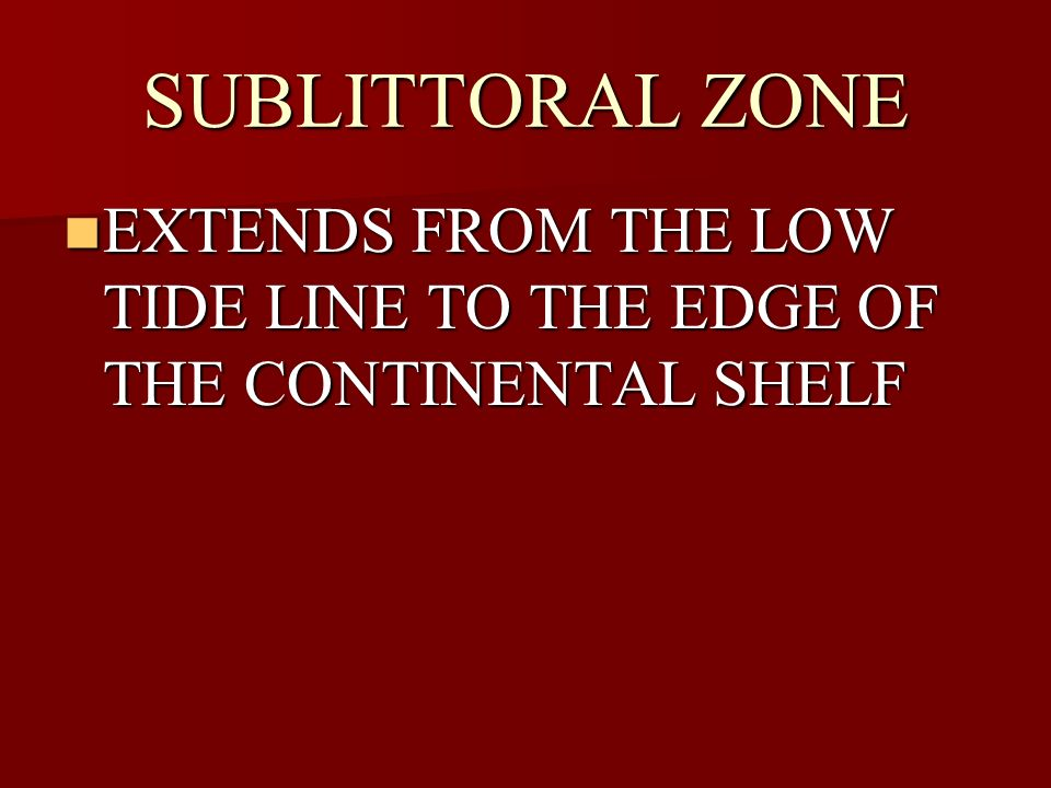 SUBLITTORAL ZONE EXTENDS FROM THE LOW TIDE LINE TO THE EDGE OF THE CONTINENTAL SHELF
