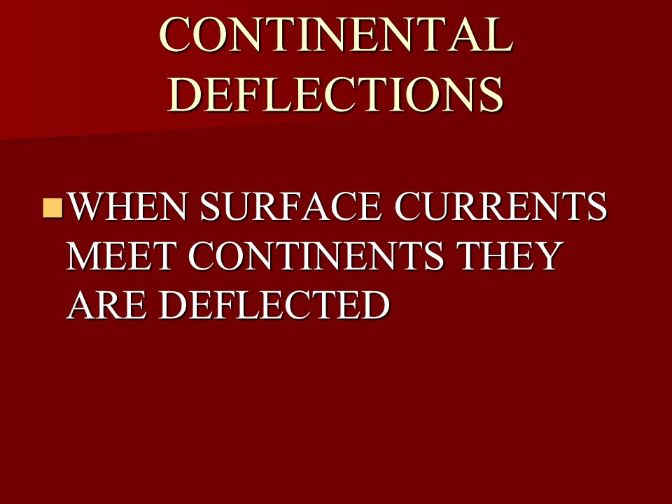 CONTINENTAL DEFLECTIONS