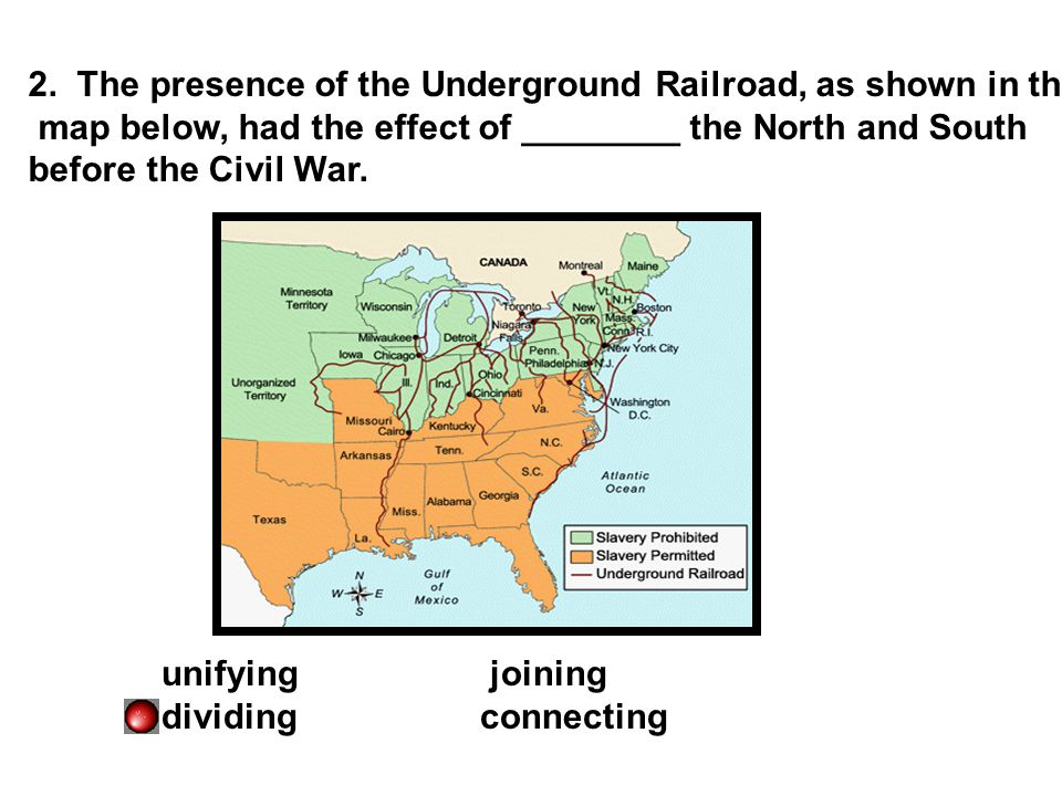 2. The presence of the Underground Railroad, as shown in the