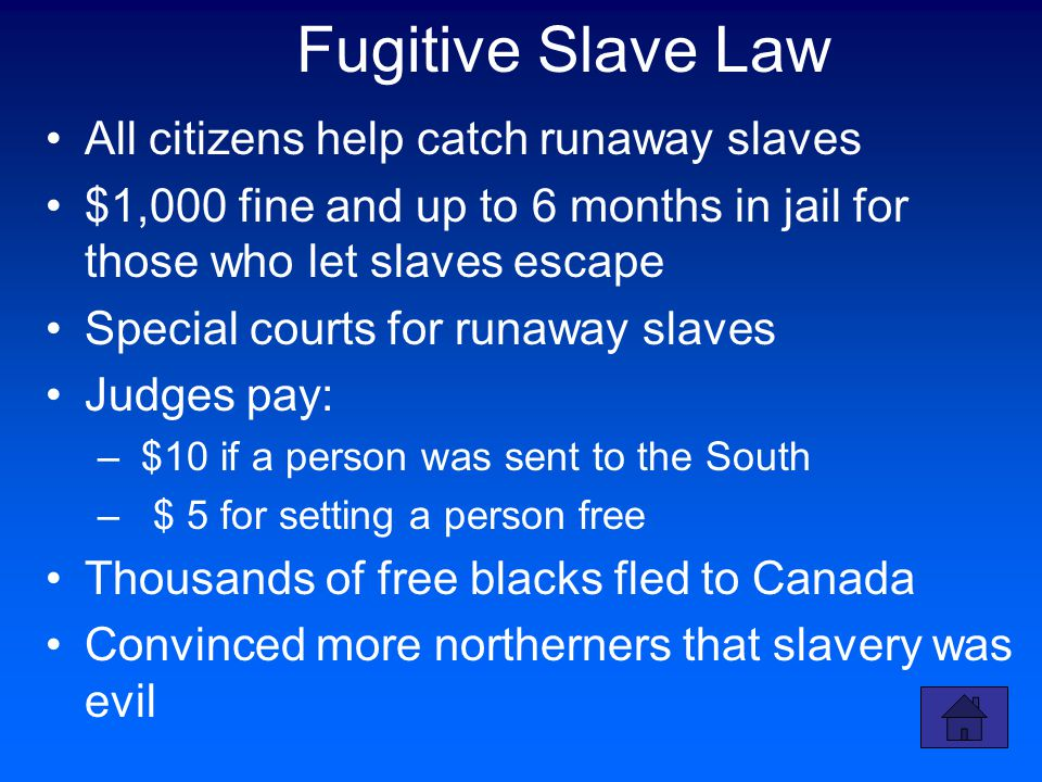 Fugitive Slave Law All citizens help catch runaway slaves