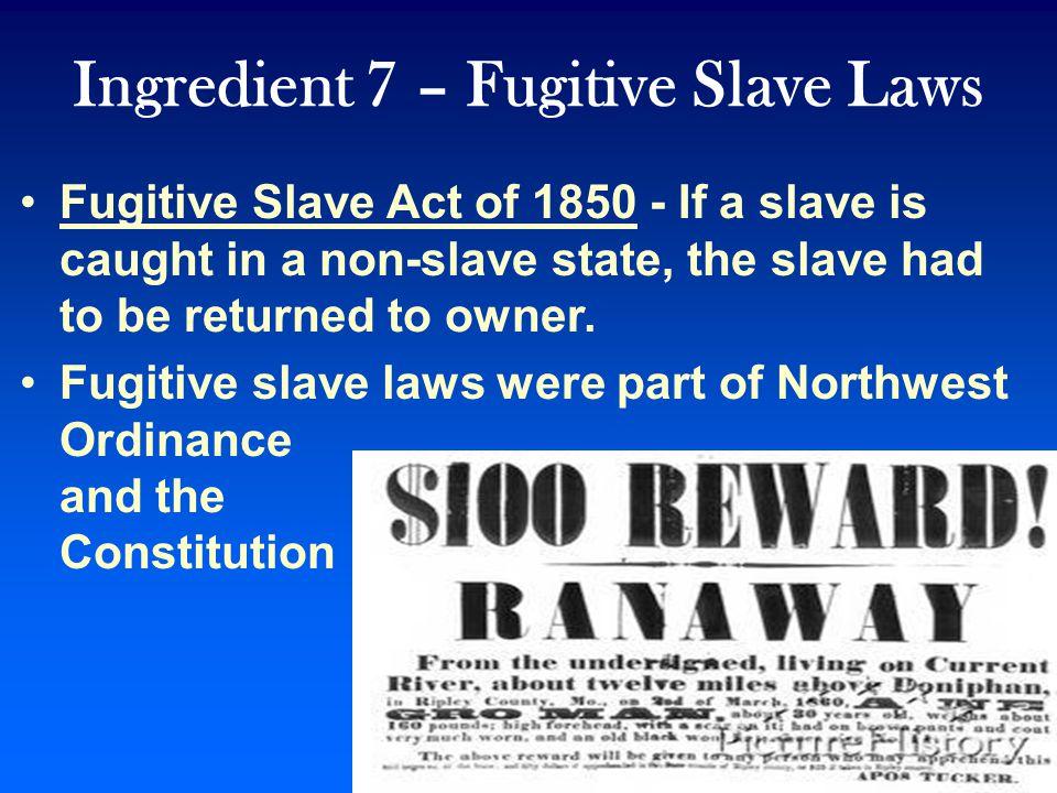 Ingredient 7 – Fugitive Slave Laws