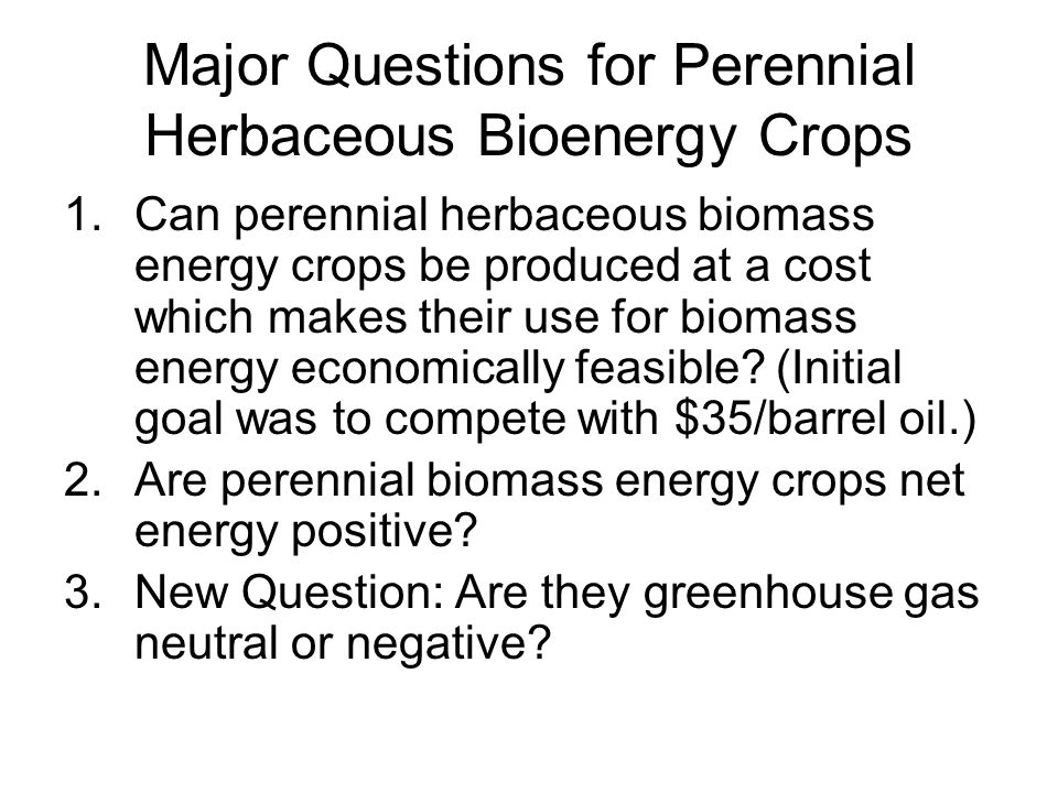 Major Questions for Perennial Herbaceous Bioenergy Crops