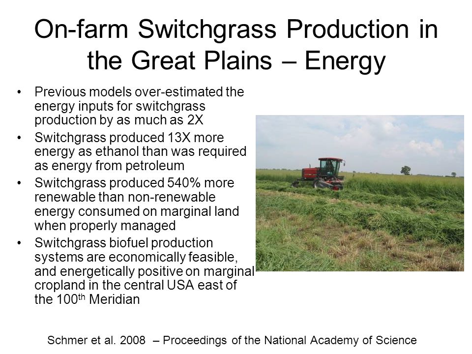 On-farm Switchgrass Production in the Great Plains – Energy