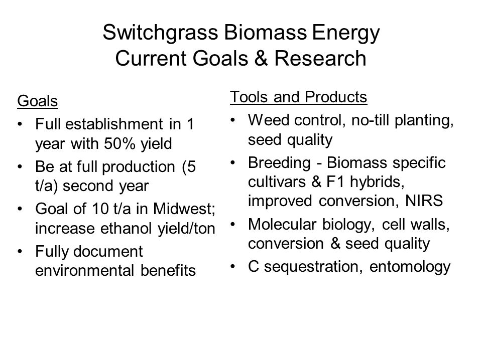 Switchgrass Biomass Energy Current Goals & Research