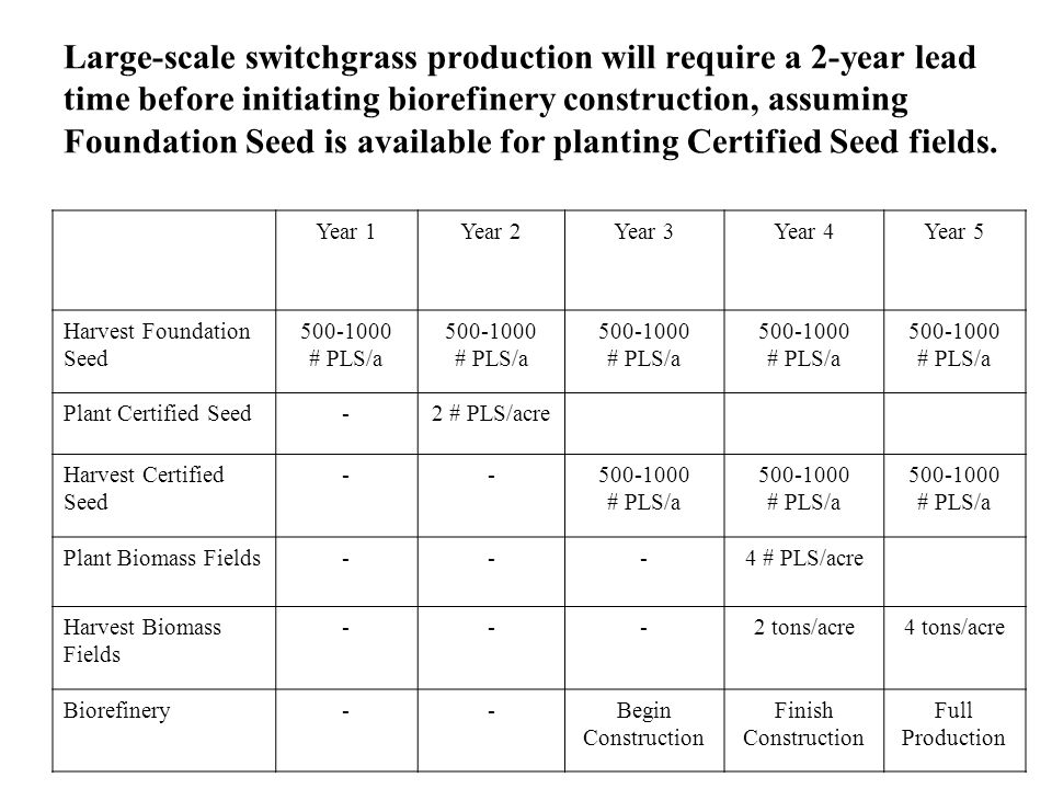 Large-scale switchgrass production will require a 2-year lead time before initiating biorefinery construction, assuming Foundation Seed is available for planting Certified Seed fields.