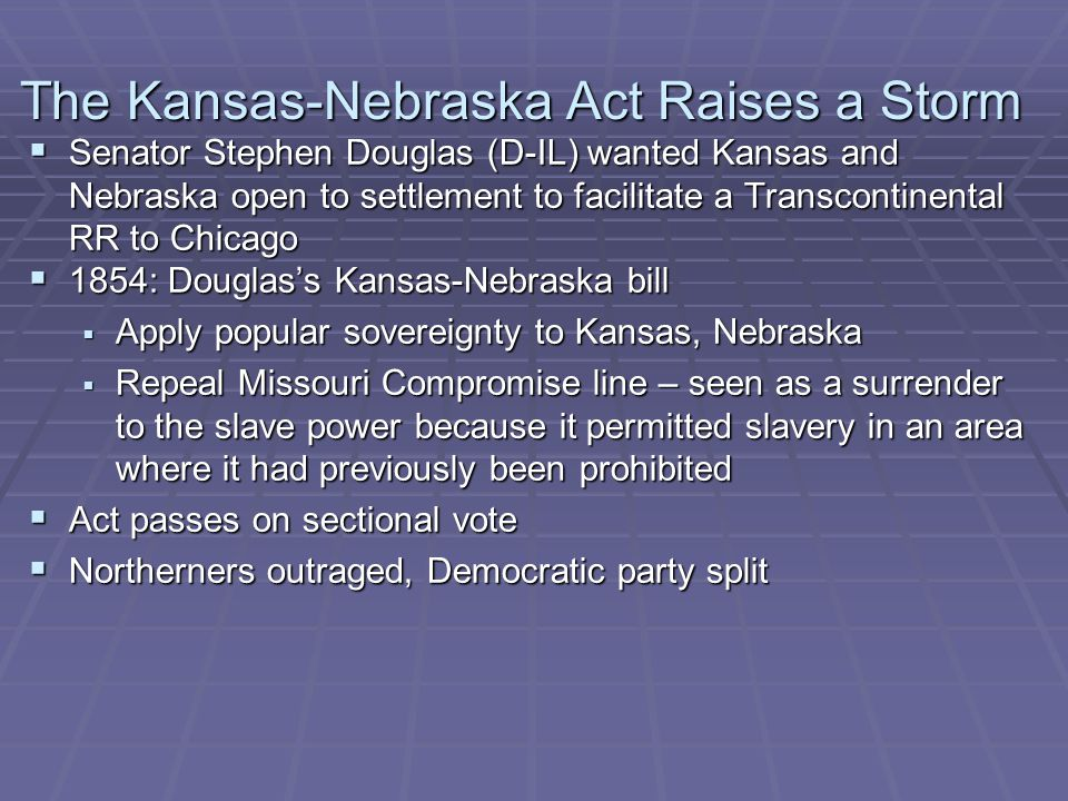 The Kansas-Nebraska Act Raises a Storm