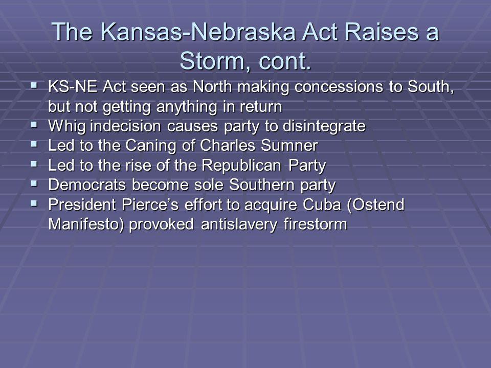 The Kansas-Nebraska Act Raises a Storm, cont.