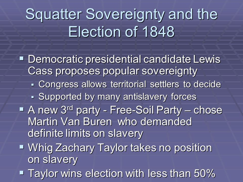 Squatter Sovereignty and the Election of 1848